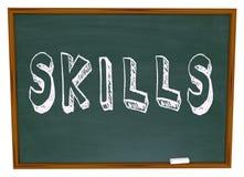 技能在黑板措辞学会新的事在学校 免版税库存照片