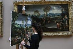 抄写员画家在工作,天窗,巴黎,法国 库存照片