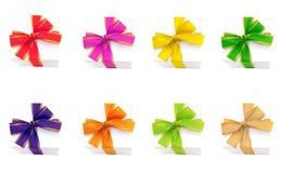 把五颜六色的礼品丝带装箱 库存照片