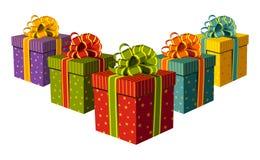 把五颜六色的礼品装箱 图库摄影