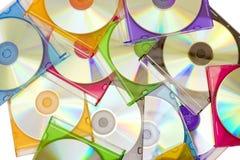 把五颜六色的cds装箱 免版税库存图片