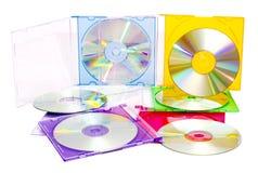 把五颜六色的cds装箱 免版税库存照片