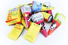 把儿童烟花装箱 免版税库存图片