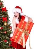 把圣诞节冷杉礼品女孩帽子圣诞老人&# 库存图片