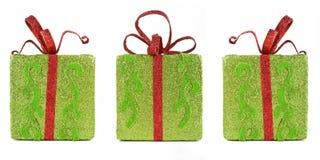 把圣诞节礼品闪耀的三装箱 免版税库存图片