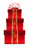 把圣诞节被堆积的礼品红色装箱 图库摄影