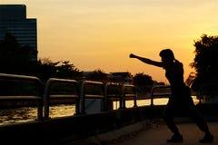 把在日落的妇女锻炼和武术剪影装箱 免版税库存图片
