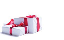 把在白色的礼品装箱 免版税图库摄影