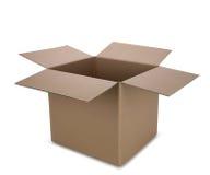 把开放的纸板装箱 免版税库存照片