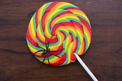 把戏或款待与蜘蛛的棒棒糖糖果 免版税图库摄影