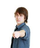 把手指指向的英俊的年轻人您 免版税库存照片