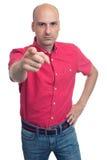 把手指指向的恼怒的秃头人您 查出 免版税图库摄影