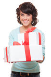 把拿着相当二妇女的礼品装箱 库存图片