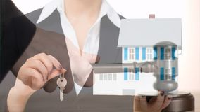 把握房子关键的女性不动产房地产经纪商的数字动画 股票录像