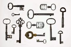 13把有趣的古色古香的钥匙的一汇集 库存照片