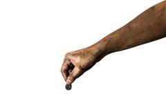 把泰国硬币放的肮脏的手被隔绝在白色背景上 免版税图库摄影