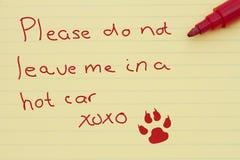 把狗留在的危险在停放的汽车 库存照片