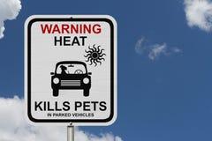 把狗留在的危险在停放的汽车 免版税图库摄影