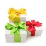 把礼品三白色装箱 免版税库存照片