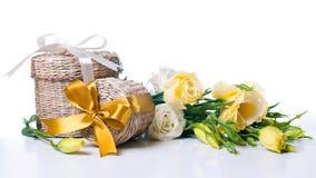 把礼品二柳条装箱 免版税库存照片