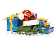 把礼品帽子货币红色s圣诞老人装箱 免版税图库摄影