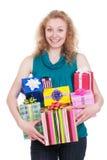把礼品快乐的妇女装箱 免版税库存图片