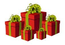 把礼品金黄绿色红色丝带装箱 免版税库存图片