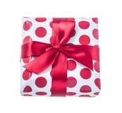 把礼品高查出的红色装箱使解决方法空白 免版税图库摄影