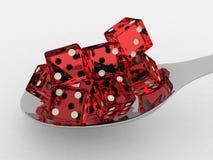 把红色匙子切成小方块 免版税库存照片