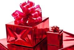 把红色圣诞节的礼品装箱 免版税库存照片