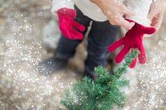 把红色手套放的母亲在有雪作用的孩子上 免版税库存图片
