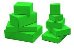 把纸板绿色小装箱 库存照片