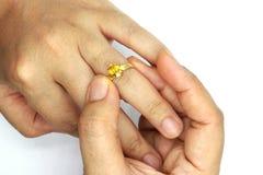把结婚戒指放的妇女手被隔绝在黑背景上 免版税库存图片