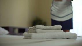 把芬芳花放的女服务生在干净的白色毛巾堆,家务上 影视素材
