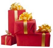把许多的礼品装箱红色 免版税库存照片