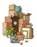把许多装箱 在棕色包裹的行李 免版税库存图片