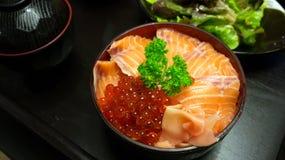 把食物日本鲭鱼装箱原始的样式采取三 免版税库存照片