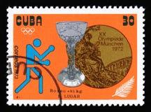 把,与题字拳击, 81 kg装箱从系列XX夏天奥运会,慕尼黑, 1972年,大约1973年 免版税库存图片
