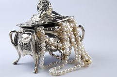 把jewelery银装箱 免版税库存图片