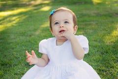 抓第一颗牙的白色礼服的逗人喜爱的愉快的微笑的小女婴 免版税库存照片