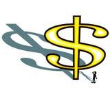 投下与人剪影的巨大的美元的符号长的阴影查找被隔绝的例证 免版税库存图片