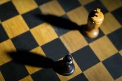投下在力量的棋枰概念的棋典当国王片断阴影 免版税库存照片