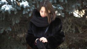 投入在绿色云杉的背景的被编织的手套的毛皮大衣和大,黑围巾的美女 温暖的女孩 库存图片
