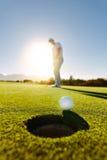 投入高尔夫球的职业高尔夫球运动员 免版税库存图片