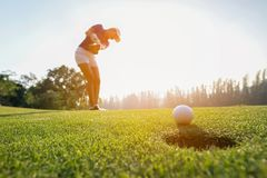 投入高尔夫球的高尔夫球运动员亚洲妇女焦点在太阳集合晚上时间的绿色高尔夫球 免版税库存照片