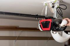 投入LED光在车库门开启者 免版税图库摄影