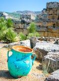 投手在古老石头,被破坏的墙壁,棉花堡中的水罐花瓶, 图库摄影
