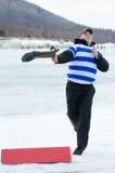 投掷在贝加尔湖的Valenok钓鱼2012年 库存照片