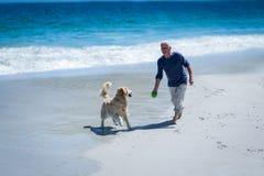 投掷球的成熟人对他的狗 免版税库存图片