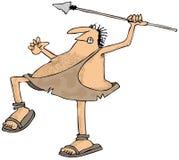 投掷矛的穴居人 免版税库存照片